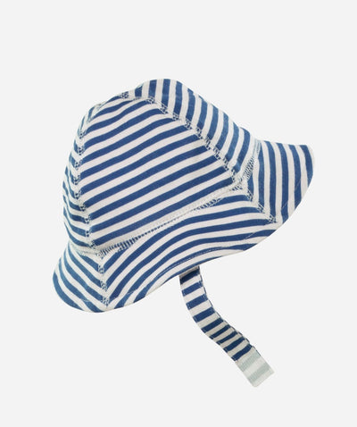 Hats - Infants Striped Sun Hat With Velcro Chin Cord