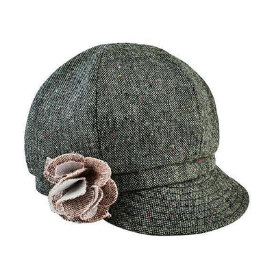Kids Tweed Newsboy With Flower (CTK4196)
