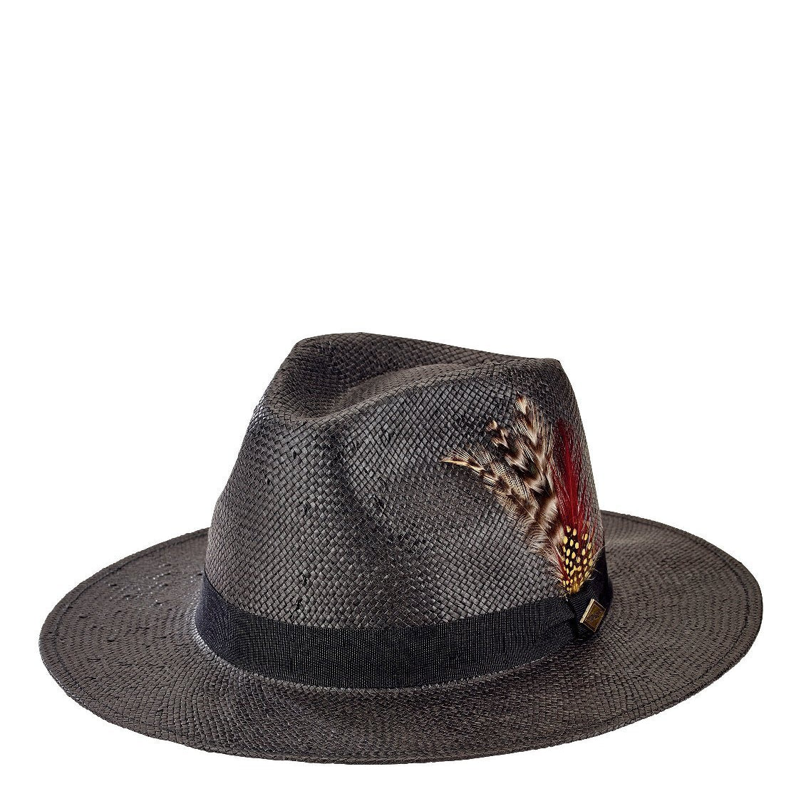 939673461b5 Mens Woven Paper Fedora W  Feathers (SDH3015) - San Diego Hat Company