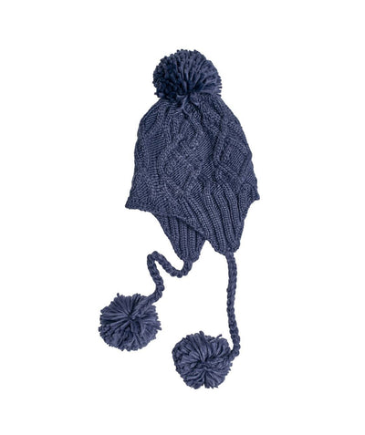 Hats - Solid Cable Knit Trapper With Pom