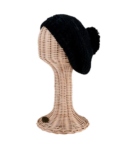 0c97e613dd2b1 Solid Chunky Beret With Pom (KNH3491) - San Diego Hat Company