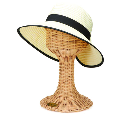 Hats - Women's Contrasting Edged Sun Brim Hat With Back Bow (PBM1026)