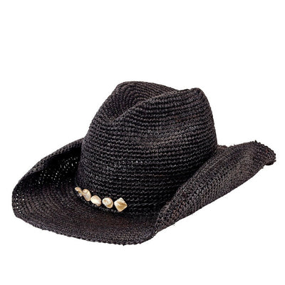 Hats - Womens Crochet Cowboy Raffia With Beaded Trim