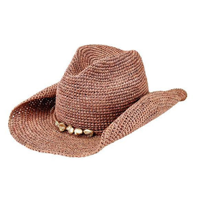 Hats - Womens Crochet Cowboy Raffia With Beaded Trim (RHC1080)