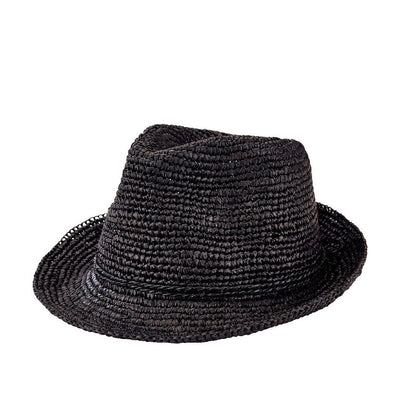 Hats - Womens Crochet Raffia Fedora