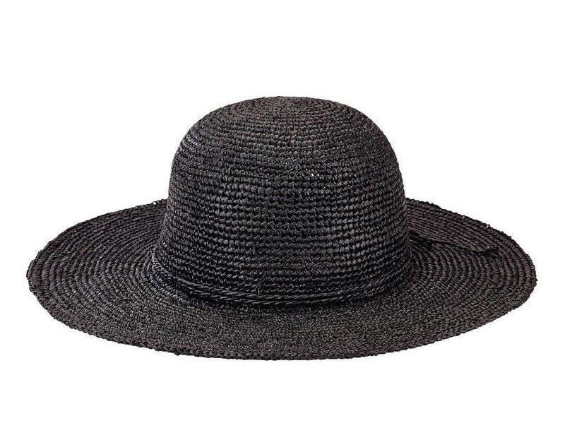Womens Crochet Raffia Round Crown Sunbrim W  Self Tie 4d017edcd029