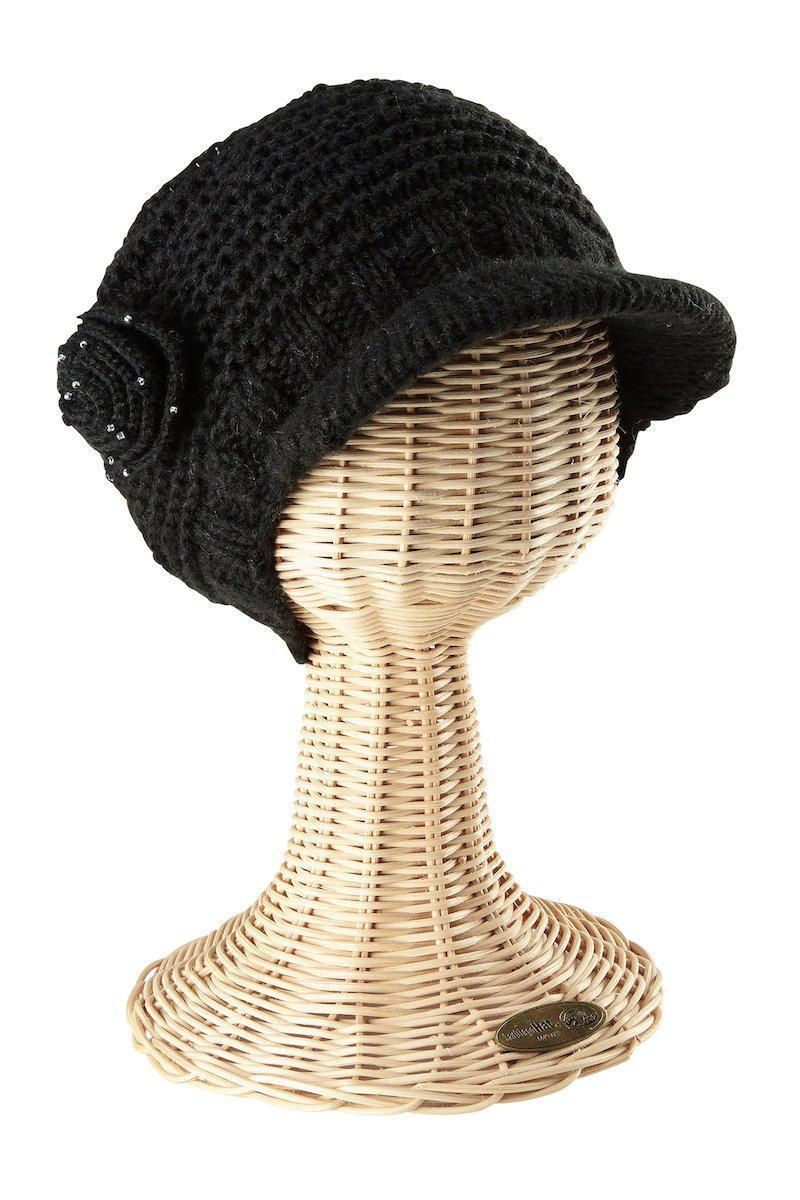 4c4173b8f3a Womens Knit Cap With Beaded Flower-Black-One Size