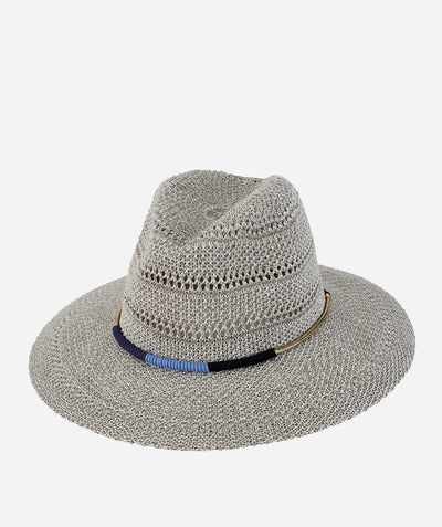 Hats - Womens Knitted Panama W/ Gold Cord Trim Wrapped In Suede