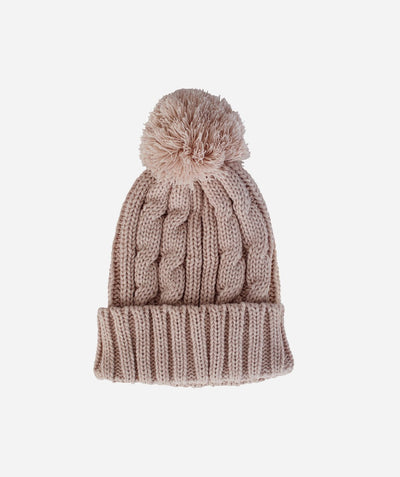 Hats - Womens Solid Cable Knit Beanie