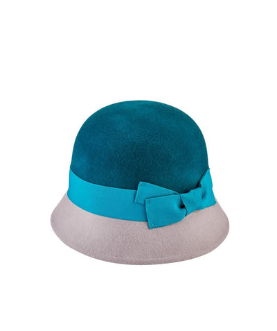 Hats - Wool Color Block Cloche With Trim