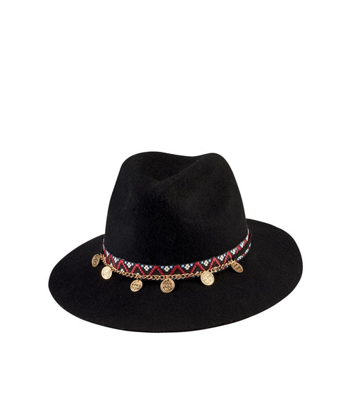 Hats - Wool Fedora With Band And Gold Coin