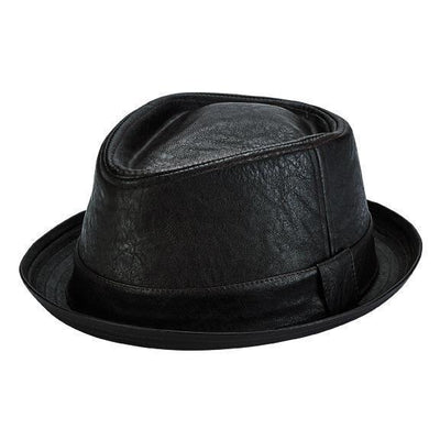Faux leather porkpie with self band (CTH1505) - Final Sale-PORKPIE-San Diego Hat Company