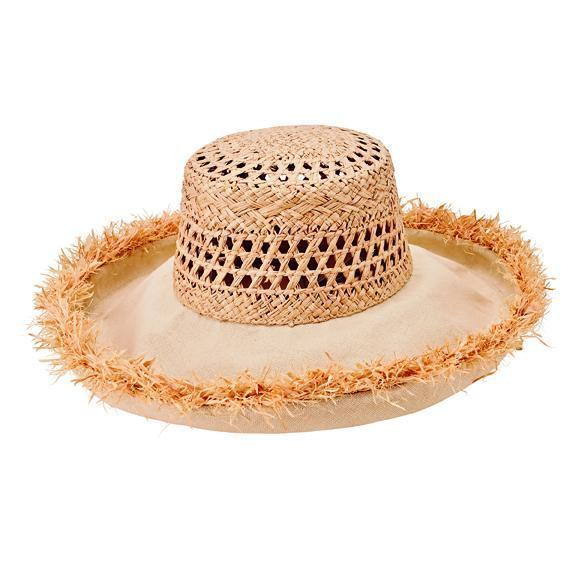 6a36fbea6 Women's raffia and cotton kettle brim hat with raw edge (CTH8262)