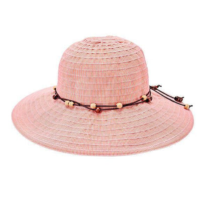 Sunbrim - Women's Orange Medium Brim Ribbon Hat With Wooden Bead Trim (RBM5572)