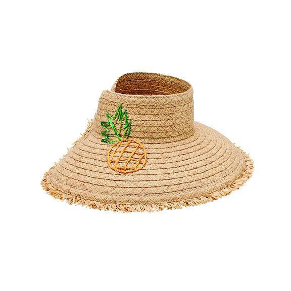 fd8dc189359 San Diego Hat Company · SAN DIEGO TOURISM AUTHORITY · SDHC · Visor - Women s  Paper Straw Visor With Embroidered Pineapple And Fray Edge (PBV016)