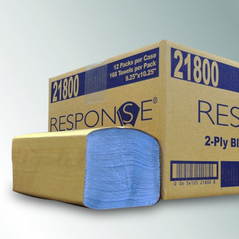 Response Heavy-Weight Blue Windshield Towel 2-Ply