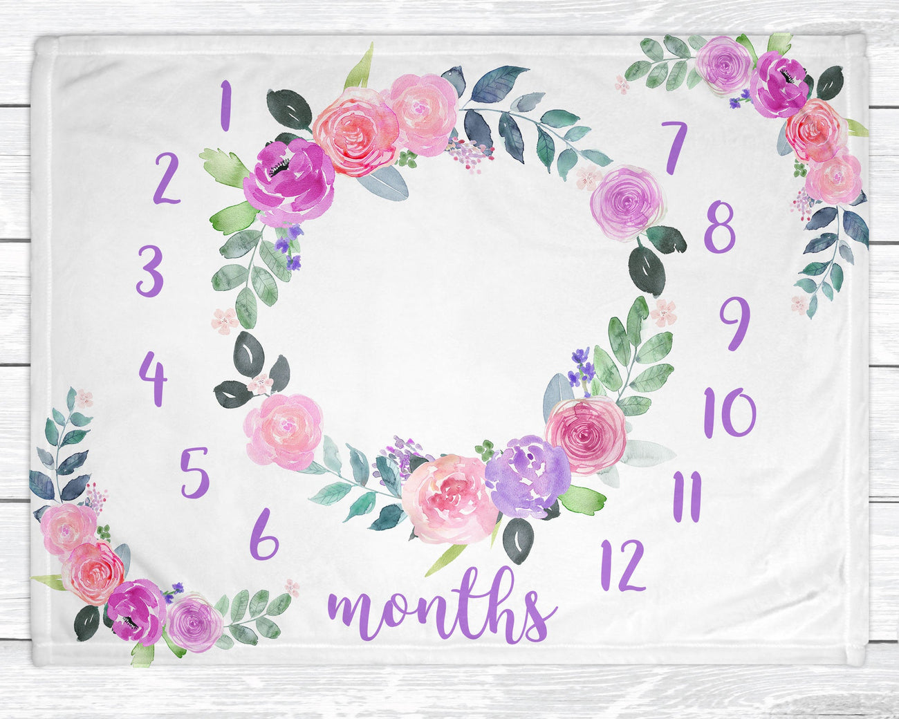 Baby Milestone Blanket - Floral Baby Girl Monthly Minky Blanket - New Mom Baby Shower Gift - Monthly Baby Blanket