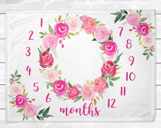 Milestone Blanket Girl - Baby Growth Chart - Monthly Growth Tracker - Floral Blanket for Newborn Nursery - Minky Baby Blanket