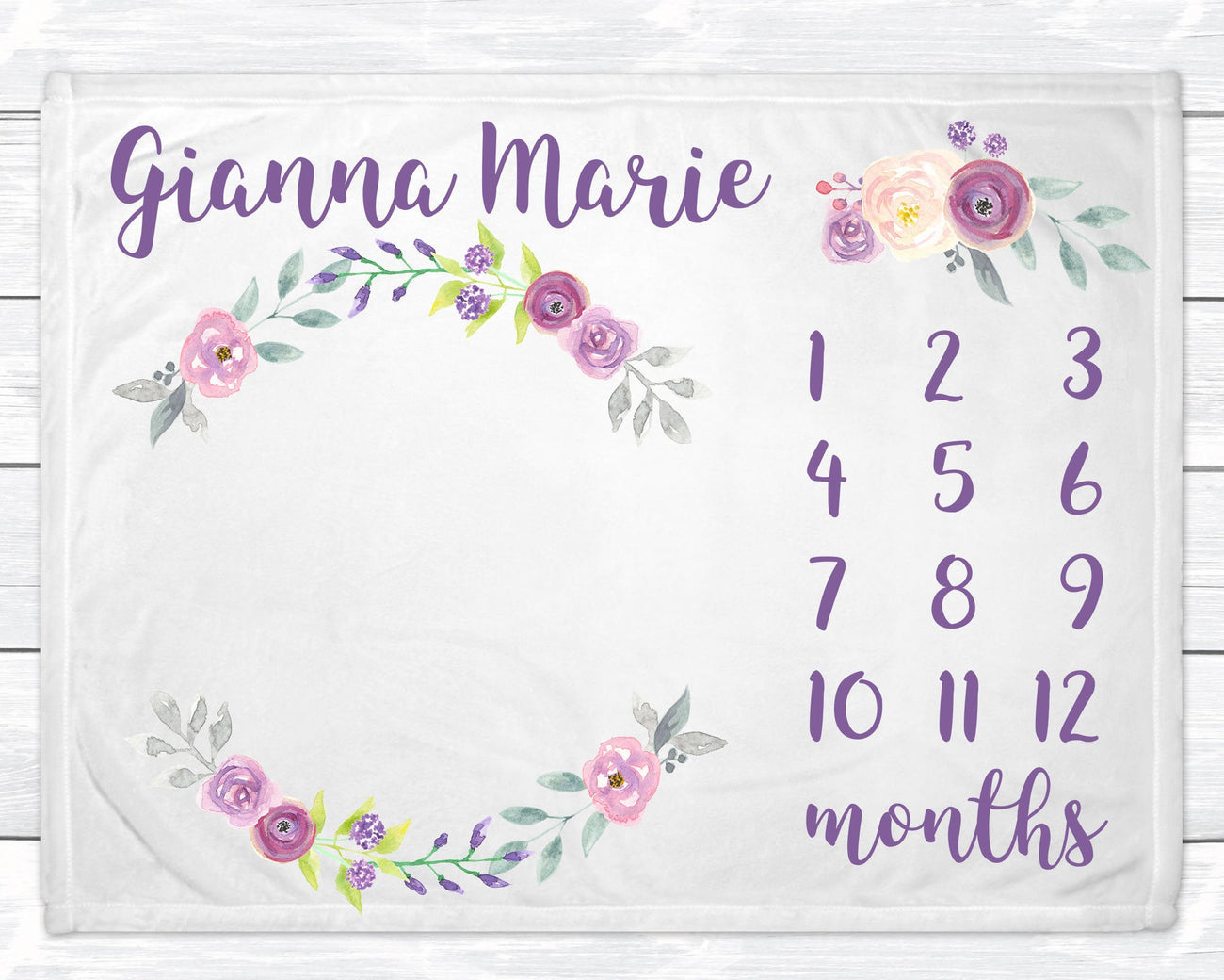 Baby Girl Milestone Blanket Monthly Personalized Growth Tracker Floral Blanket for Newborn Nursery Minky Baby Blanket