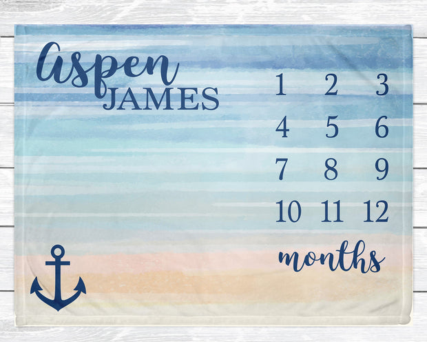 Beach Baby Nautical Nursery Decor Personalized Baby Milestone Blanket Monthly Growth Tracker