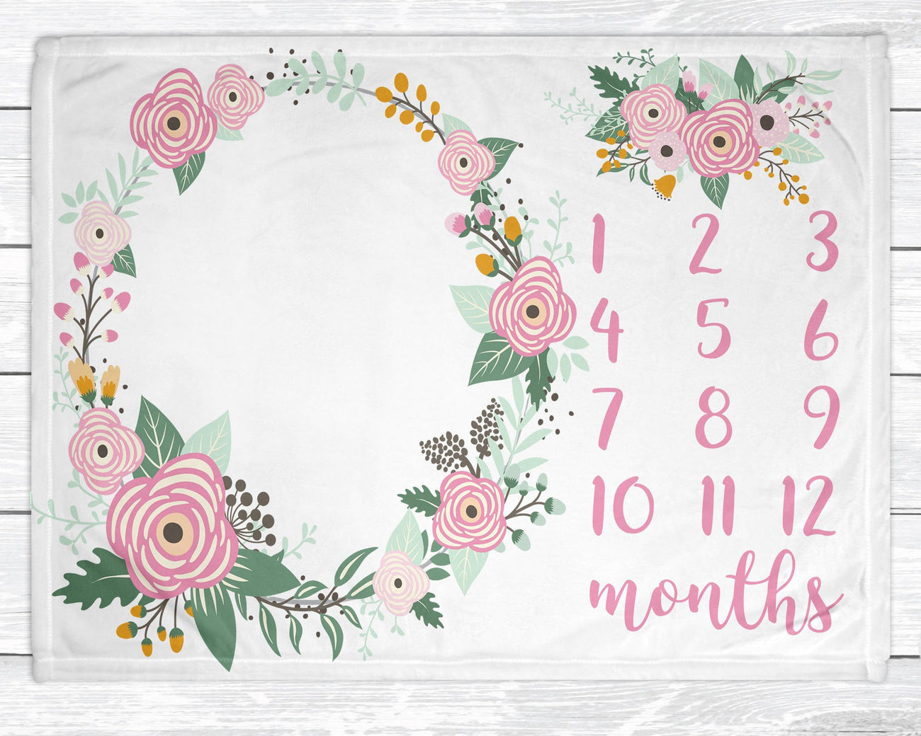 Baby Girl Growth Blanket Baby Girl Monthly Milestone Blanket Floral Blanket for Newborn Nursery Pink Baby Decor
