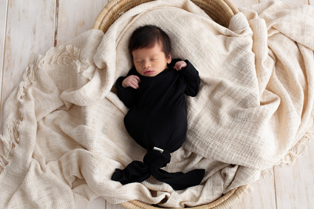 Boni ~ Black Baby gown + hat