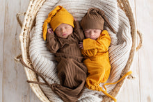 Load image into Gallery viewer, Honey Brown Baby Gown + Hat