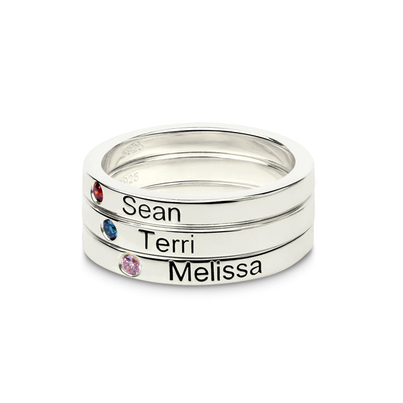 personalized name thumb ring with engraved rings birthstone