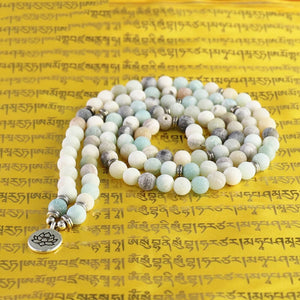 Tibetan Buddhist Matte Frosted Amazonite Beads with Lotus OM Buddha Charm 108 Mala Necklace