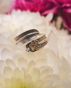 Pure Silver Feather Re-sizable Ring With Cute Paw Print