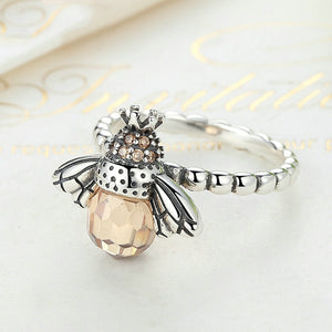Solid 925 Sterling Silver Bee Ring