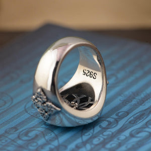 Rotating Buddhist Six Words' Mantra Ring - 925 Sterling Silver