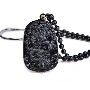 Dragon Pendant Made From Natural Obsidian