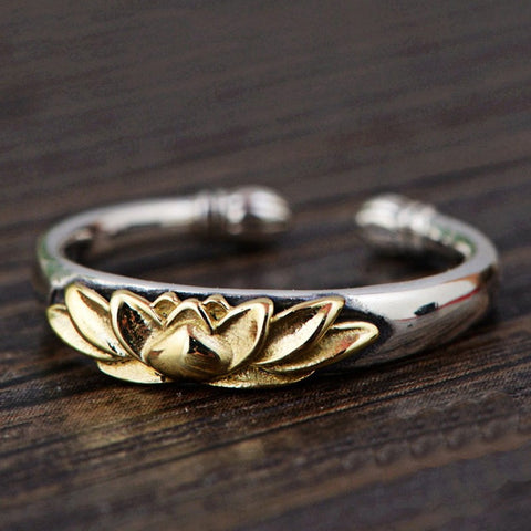 Solid 925 Sterling Silver Lotus Flower Ring - Resizable