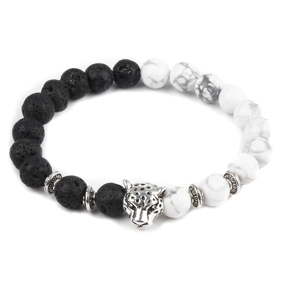 Silver Leopard Bracelets Made From Natural Lava Stones
