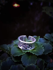 Pure Silver Lotus Flower With The Heart Sutra Engraved