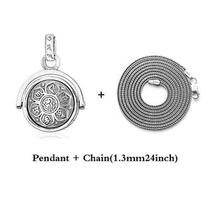 Buddhist Six Words Sutra Spinner Pendant - 925 Sterling Silver