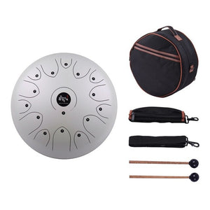 "Professional 14"" Inch 15-Tone Steel Tongue Drum Portable Hand Pan Drum - Free Carry Case!"