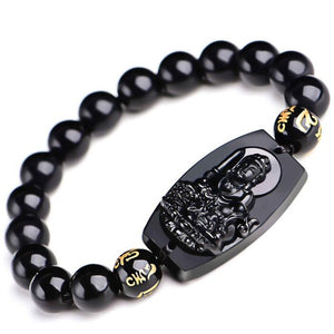 Buddha Bracelet Made From Natural Obsidian