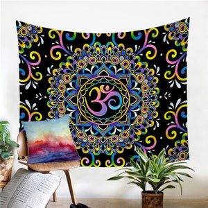 Doodle Ohm Mandala Flower Bedspread Wall Hanging Tapestry