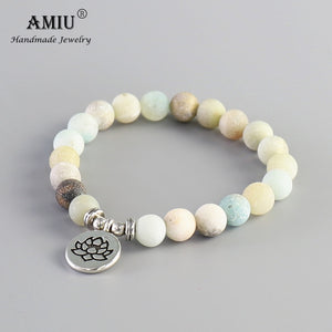 Frosted Natural Amazonite Stone With Lotus OM Buddha Charm