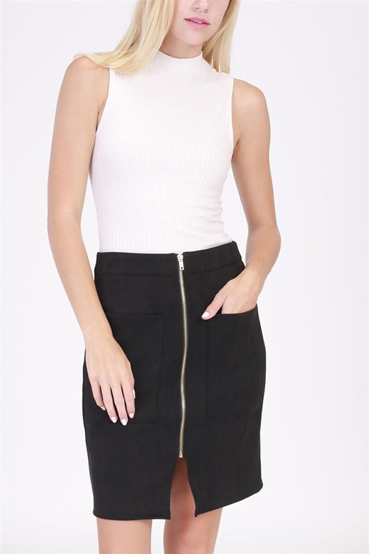 Zipper Suedette Pencil Skirt