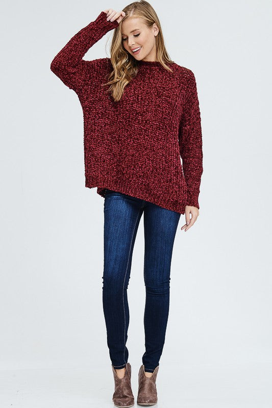 Velvet Infused Thick Knit Sweater