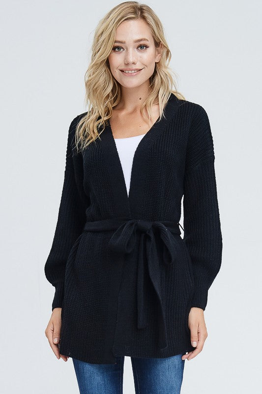 Solid Belted Cardigan