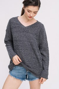 Two Toned V-Neck Pullover Sweater