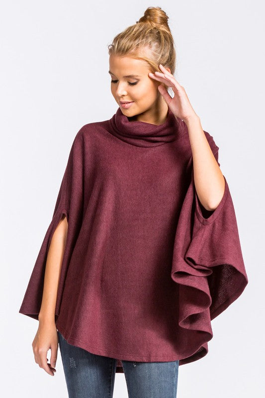 Loose Fit Turtle Neck Poncho