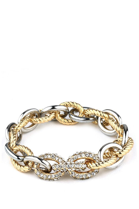 Gold and Silver Pave + Metal Links Bracelet