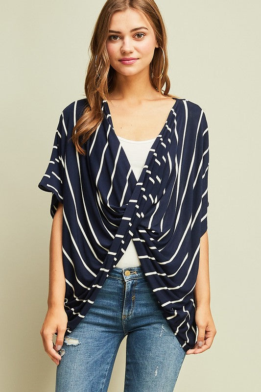 Striped Draped Twist Top