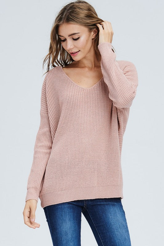 Knit V-Neck Sweater with Knot Detail