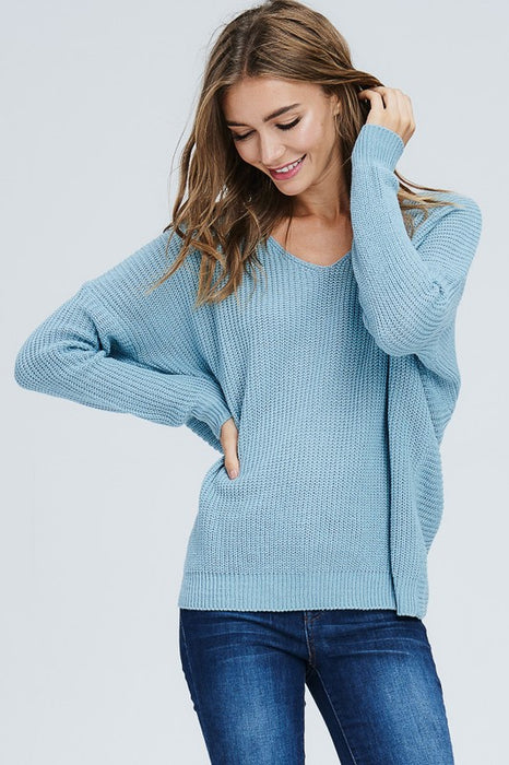 Thick Knit Open Back Sweater